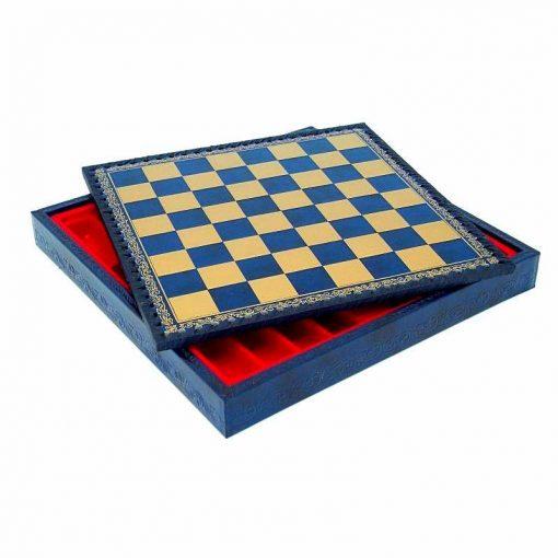 Schachbrett aus Kunstleder Blau mit Aufbewahrungsfach