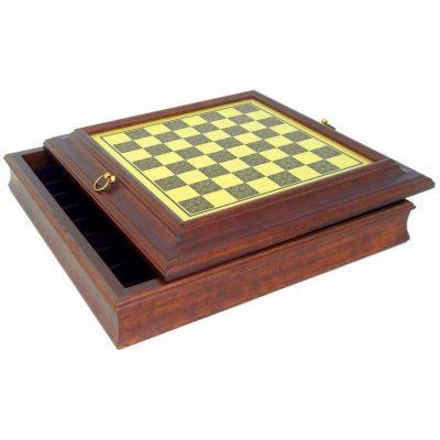 Schachbrett aus Holz und Messingeffekt mit Aufbewahrungsfach