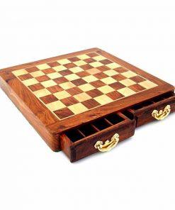 Schachbrett aus hellem Rosenholz und Ahorn mit Doppelschublade