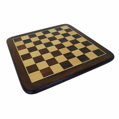 Abgerundetes Schachbrett aus Rosenholz und Ahorn Matt