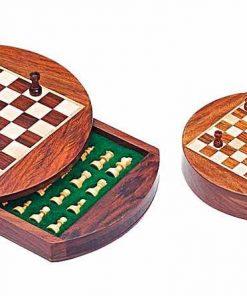 Reiseschach aus Holz Rund Magnetisch mit Aufbewahrungsfach