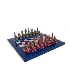 """Schachensemble """"Ägypten III"""" Schachbrett aus Ahornholz & Schachfiguren aus Metall Massiv Handbemalt"""