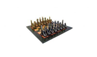 """Schachensemble """"Ägypten"""" Schachbrett aus Ahornholz & Schachfiguren aus Metall Massiv"""