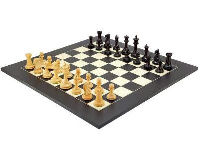 """Schachensemble """"Alter Englischer Stil II"""" Schachbrett aus Ahornholz & Schachfiguren aus Ebenholz"""