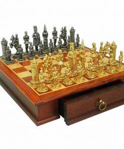 """Schachensemble """"Camelot König Artus I"""" Schachbrett aus Rosenholz &  Schachfiguren aus Metall Massiv"""