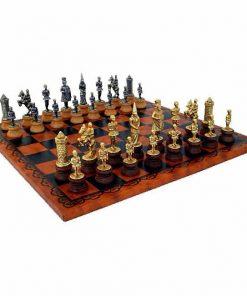 """Schachensemble """"Camelot König Artus II"""" Schachbrett aus Kunstleder & Schachfiguren aus Holz und Metall Massiv"""
