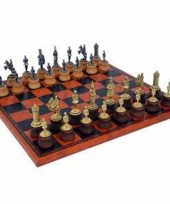 """Schachensemble """"Camelot König Artus IV"""" Schachbrett aus Kunstleder & Schachfiguren aus Metall und Holz Massiv"""