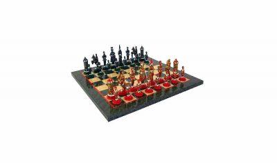 "Schachensemble ""Camelot König Artus V"" Schachbrett aus Ahorn Olivefarben & Schachfiguren aus  Metall Massiv Handbemalt"