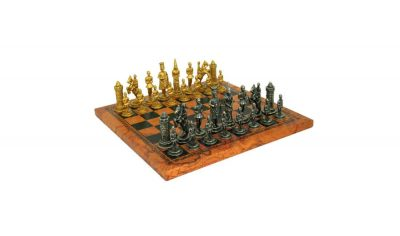 "Schachensemble ""Camelot VII"" Schachbrett aus Kunstleder & Schachfiguren aus Metall Massiv"