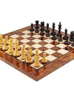 """Schachensemble """"Canterbury"""" Schachbrett aus Wurzelholz Lackiert & Schachfiguren aus Ebenholz"""