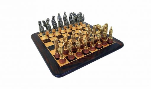 """Schachensemble """"Cäsar"""" Abgerundetes Schachbrett aus Rosenholz und Ahorn Matt & Schachset aus Holz und Metall"""