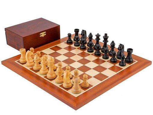 """Schachensemble """"Championship II"""" Schachbrett aus Mahagoni und Ahorn"""