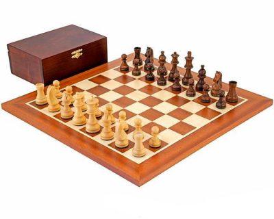 """Schachensemble """"Championship"""" Schachbrett aus Mahagoni und Ahorn"""