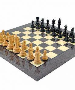 "Schachensemble ""Cheltenham"" Schachbrett aus Bruyère- und Ulmenholz Lackiert & Schachfiguren aus Ebenholz"