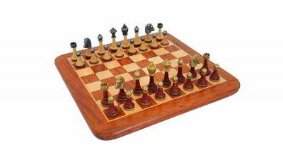 """Schachensemble """"Classic II"""" Schachbrett aus Rosenholz und Ahorn Glänzend & Schachfiguren aus Metall und Holz Massiv"""