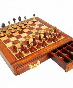 """Schachensemble """"Classic III"""" Schachbrett aus goldenem Rosenholz und Ahorn & Schachfiguren aus Holz Massiv und Metall"""