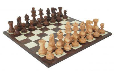 "Schachensemble ""Classic VII"" Schachbrett und Schachfiguren aus vergoldetem Rosenholz"