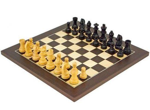 """Schachensemble """"Classic Wenge"""" Schachbrett aus Wenge und Ahorn & Schachfiguren aus ebonisiertem Buchsbaum"""