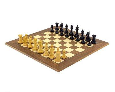 """Schachensemble """"Colombus"""" Schachbrett aus Nussbaum und Ahorn & Schachfiguren aus Ebenholz"""