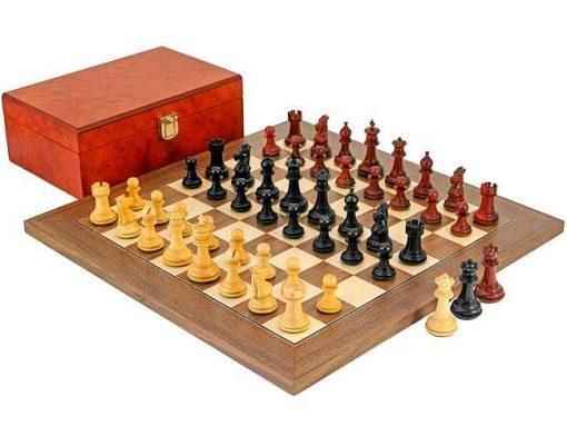 """Schachensemble """"Drei Kronen"""" Schachbrett aus Nussbaum- und Ahornholz & 3x16 Schachfiguren aus Ebenholz"""