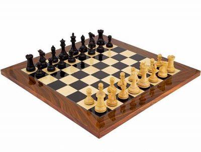 """Schachensemble """"Elegant"""" Schachbrett aus Palisander- und Ahornholz & Schachfiguren aus Ebenholz"""
