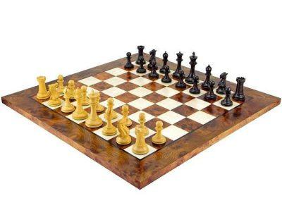 """Schachensemble """"Elite"""" Schachbrett aus Ulmen- und Bruyèreholz  & Schachfiguren aus Ebenholz"""
