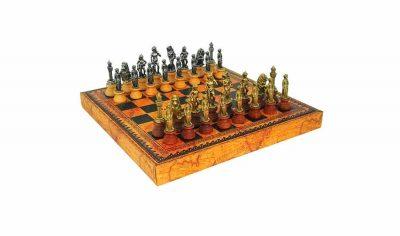 """Schachensemble """"Florentiner II"""" Schachbrett aus Kunstleder & Schcachfiguren aus Holz und Metall Massiv"""