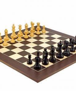 "Schachensemble ""Frankfurt Groß"" Schachbrett aus Wengeholz & Schachfiguren aus Buchsbaumholz"