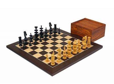 """Schachensemble """"Französische Regentschaft"""" Schachbrett aus Wengeholz & Schachfiguren aus ebonisiertem Buchsbaumholz"""