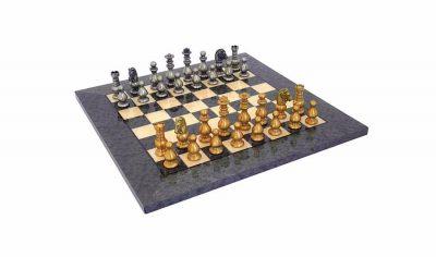 """Schachensemble """"Französischer Stil II"""" Schachbrett aus Ahorn Grau & Schachfiguren aus Messing Massiv"""