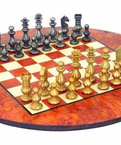 """Schachensemble """"Französischer Stil"""" Rundes Schachbrett aus Bruyère- und Ulmenholz  & Schachfiguren aus Messing Massiv"""