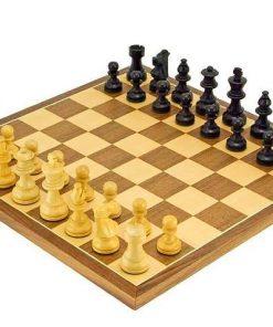"""Schachensemble """"French"""" Schachbrett aus Ahorn-und Nussbaumholz & Spielfiguren aus ebonisiertem Buchsbaumholz"""