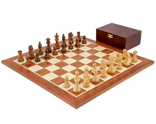 """Schachensemble """"Grand Championship"""" Schachbrett aus Mahagoni und Ahorn"""