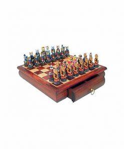 """Schachensemble """"Hunde und Katzen """" Schachbrett aus Rosenholz mit Schublade & Schachfiguren aus Kunstharz Handbemalt"""