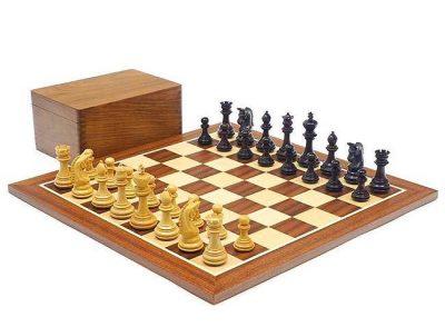"Schachensemble ""Imperial"" Schachbrett aus Mahagoni- und Ahornholz & Schachfiguren aus Rosenholz"