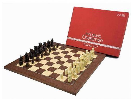 """Schachensemble """"Isle of Lewis """" Schachbrett aus Palisanderwurzelholz & Schachfiguren aus Kunstharz"""