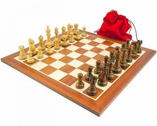 """Schachensemble """"Jacob Knight"""" Schachbrett aus Ahorn- und Mahagoniholz"""