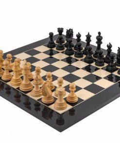"""Schachensemble """"Konstantin"""" Schachbrett aus Ahornholz Lackiert und Schachfiguren aus Ebenholz Massiv"""