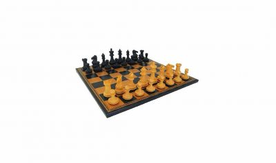 "Schachensemble ""Kunstleder Ebenholz"" Schachbrett aus Kunstleder & Schachfiguren aus Ebenholz Massiv"