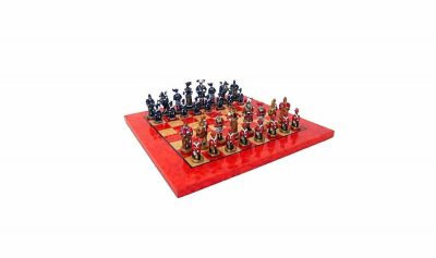 "Schachensemble ""Landsknechte"" Schachbrett aus Ahornholz & Schachfiguren aus Metall Massiv Handbemalt"