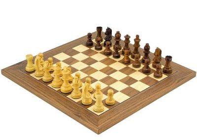 """Schachensemble """"Luxus"""" Schachbrett aus Ahorn- und Nussbaumholz & Schachfiguren aus Rosenholz und Buchsbaum"""