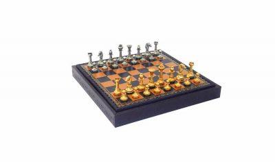 """Schachensemble """"Mignon Blumen II"""" Schachbrett aus Kunstleder mit integriertem Aufbewahrungsfach & Schachfiguren aus Messing Massiv"""