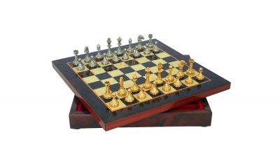 """Schachensemble """"Mignon Blumen II"""" Schachbrett aus Ulmen- und Bruyèreholz & Schachfiguren aus Metall Gold-/Silberbeschichtung"""