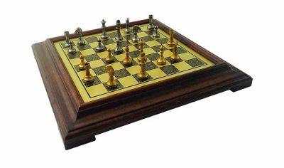 """Schachensemble """"Mignon Blumen III"""" Schachbrett mit Standfüßen aus Holz Massiv Messingeffekt und Schachfiguren aus Metall Massiv"""