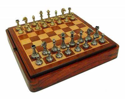 """Schachensemble """"Mignon Blumen IV"""" Schachbrett aus Rosenholz und Schachfiguren aus Metall Massiv"""