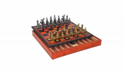 "Schachensemble ""Mittelalter"" Schachbrett aus Kunstleder & Schachfiguren aus Metall Massiv"