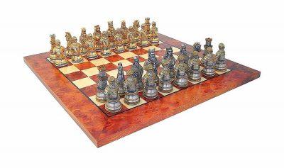 """Schachensemble """"Mittelalterliche Büste Luxusausführung"""" Schachbrett aus Ulme und Bruyèreholz & Schachfiguren aus Zinn Massiv mit Gold-und Silberbeschichtung"""