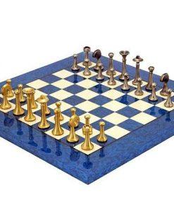 "Schachensemble ""Modern Blau"" Schachbrett aus Ahornholz & Schachfiguren aus Messing Massiv"