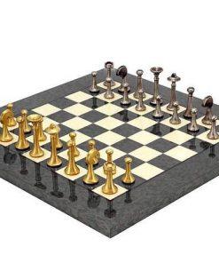 """Schachensemble """"Modern Grau"""" Schachbrett aus Ahorn & Spielfiguren aus Messing Massiv"""