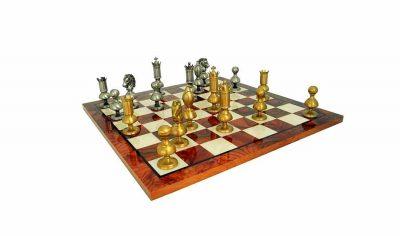 """Schachensemble """"Modernes Riesenschach Spitzenqualität"""" Schachbrett aus Ulmen- und Bruyèreholz & Schachfiguren aus Messing Massiv"""